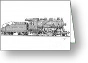Coal Burner Greeting Cards - Light Frieght Steam Engine Greeting Card by Calvert Koerber