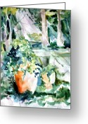 Vine Mixed Media Greeting Cards - Light in Capri Greeting Card by Mindy Newman