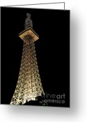 Tall Building Greeting Cards - Light in the Night Sky Greeting Card by Kaye Menner