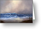 Evening Scenes Digital Art Greeting Cards - Light in the Storm Greeting Card by Sena Wilson