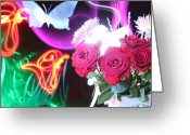 Lightpaint Greeting Cards - Light Love Greeting Card by Andrew Nourse