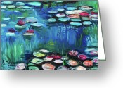 Lilly Pad Painting Greeting Cards - Light of the Lillies Greeting Card by Elizabeth Robinette Tyndall