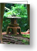 Transformative Art Greeting Cards - Light-On Pagoda Greeting Card by Lisa Redfern