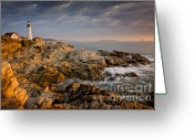 October Greeting Cards - Light on Portland Head Greeting Card by Susan Cole Kelly