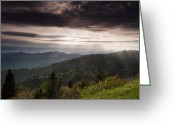 Cowee Greeting Cards - Light on the Blue Ridge Greeting Card by Andrew Soundarajan