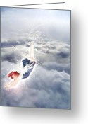High Resolution Greeting Cards - Light Play Angels Descent Greeting Card by Nikki Marie Smith