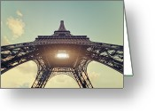 Ile De France Greeting Cards - Light Shining Through Eiffel Tower Greeting Card by Philipp Klinger