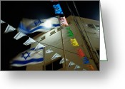 Star Of David Greeting Cards - Light Shinning Through The Flag Greeting Card by Keenpress