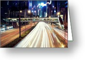 Long Street Photo Greeting Cards - Light Trails At Traffic On Street At Night Greeting Card by Thank you for choosing my work.