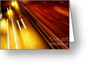 Stripes Greeting Cards - Light Trails Greeting Card by Carlos Caetano
