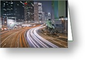 Marking Photo Greeting Cards - Light Trails On Road Greeting Card by Andi Andreas