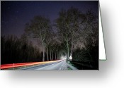 Marking Photo Greeting Cards - Light Trails On Road Greeting Card by ©Sébastien Joly