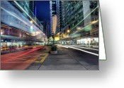 Long Street Photo Greeting Cards - Light Trails On Street At Night Greeting Card by Thank you for choosing my work.