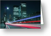 Long Street Photo Greeting Cards - Light Trails On The Street In Tokyo Greeting Card by >>>>sample Image>>>>>>>>>>>>>>