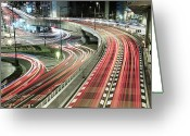 Long Street Photo Greeting Cards - Light Trails Greeting Card by Spiraldelight