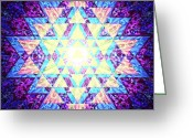 Tibetan Buddhism Greeting Cards - Light Yantra Greeting Card by Clare Goodwin