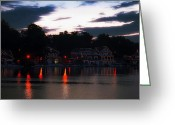 Boathouse Row Philadelphia Greeting Cards - Lighted Boathouse Row Greeting Card by Bill Cannon