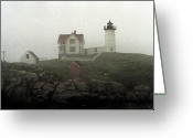 Cape Neddick Light Station Greeting Cards - Lighthouse - Photo Watercolor Greeting Card by Frank Romeo