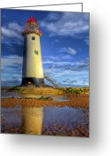 Flintshire Greeting Cards - Lighthouse Greeting Card by Adrian Evans