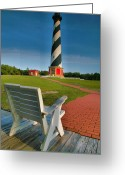 Landscape Posters Greeting Cards - Lighthouse and Chair Greeting Card by Steven Ainsworth