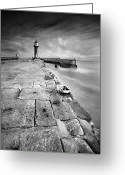 Sea Wall Greeting Cards - Lighthouse Greeting Card by Andy Freer