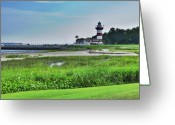 Lyle  Huisken Greeting Cards - Lighthouse at Harbour Town Greeting Card by Lyle  Huisken