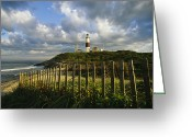 Wood Fences Greeting Cards - Lighthouse At Montauk With Dramatic Sky Greeting Card by Skip Brown
