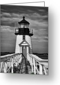 Whale Beach Greeting Cards - Lighthouse at Nantucket Island II - black and white Greeting Card by Hideaki Sakurai