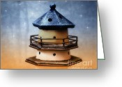 Star Greeting Cards - Lighthouse at night Greeting Card by Kristin Kreet