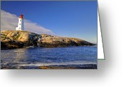 Sea Shore Digital Art Greeting Cards - Lighthouse at Peggys Cove Greeting Card by Donna Caplinger