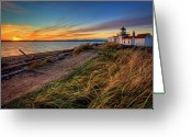 Guidance Greeting Cards - Lighthouse At Sunset Greeting Card by Photo by David R irons Jr