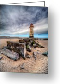 Rail Greeting Cards - Lighthouse at Talacre  Greeting Card by Adrian Evans