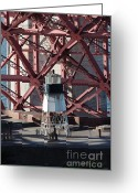Steel Construction Greeting Cards - Lighthouse Atop Fort Point Next To The San Francisco Golden Gate Bridge - 5D18999 Greeting Card by Wingsdomain Art and Photography