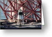 Steel Construction Greeting Cards - Lighthouse Atop Fort Point Next To The San Francisco Golden Gate Bridge - 5D19001 Greeting Card by Wingsdomain Art and Photography