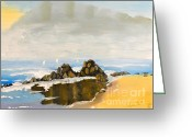 Pamela Meredith Greeting Cards - Lighthouse Beach Greeting Card by Pamela  Meredith