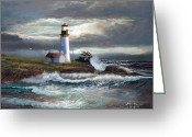 Waves Painting Greeting Cards - Lighthouse Beam of hope Greeting Card by Gina Femrite