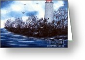 Seabirds Greeting Cards - Lighthouse Blues Painterly Style Greeting Card by Barbara Griffin