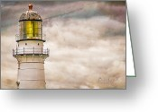 Beacon Greeting Cards - Lighthouse Cape Elizabeth Maine Greeting Card by Bob Orsillo