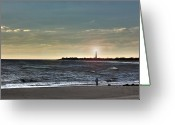 Kevin Sherf Greeting Cards - Lighthouse Fisherman Greeting Card by Kevin  Sherf