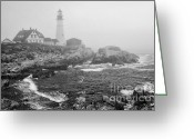 Fort Williams Park Photo Greeting Cards - Lighthouse in the fog - black and white Greeting Card by Hideaki Sakurai