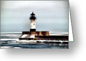 Duluth Greeting Cards - Lighthouse Greeting Card by Jimmy Ostgard