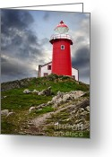Signal Photo Greeting Cards - Lighthouse on hill Greeting Card by Elena Elisseeva