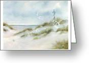 South Carolina Beach Painting Greeting Cards - Lighthouse on the Beach Greeting Card by Charles Roy Smith