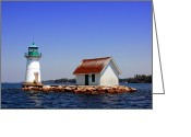 Signal Photo Greeting Cards - Lighthouse on the St Lawrence River Greeting Card by Olivier Le Queinec