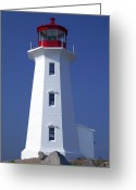 Building Greeting Cards - Lighthouse Peggys cove Greeting Card by Garry Gay