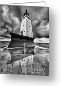 Dark Cloud Greeting Cards - Lighthouse Reflection Black and White Greeting Card by Sebastian Musial