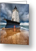 Dark Cloud Greeting Cards - Lighthouse Reflection Greeting Card by Sebastian Musial