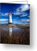 Talacre Digital Art Greeting Cards - Lighthouse Reflections Greeting Card by Adrian Evans