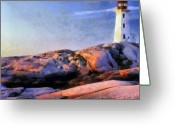 Ocean Landscape Pastels Greeting Cards - Lighthouse Greeting Card by Russ Harris