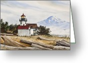 Pacific Northwest Lighthouse Framed Print Greeting Cards - Lighthouse Splendor Greeting Card by James Williamson